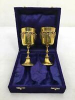 Vintage Solid Brass Grape Vine Motif Drinking Glasses Goblets In Purple Box