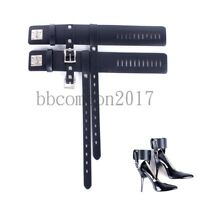 New Locking Leather Ankle Belts Restraint cuffs Fixed to High Heel Shoes straps