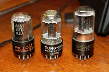 Lot of 3 6Sn7 Vacuum Tubes Philco Tung Sol and Crosley all strong and balanced