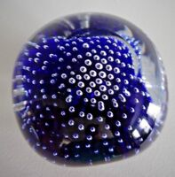 Vintage TIFFIN Art Glass Pinched CONTROLLED BUBBLE Paperweight Cobalt Blue Facet