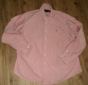 Polo Ralph Lauren Mens L/S  Custom Fit Button Up Pink Chambray Size XXL