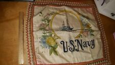 VINTAGE VERY OLD US NAVY PILLOW SHAM BANNER FLAG U.S.S. BUSHNELL LOOK!