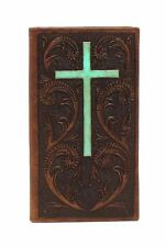 Ariat Western Mens Wallet Rodeo Leather Embossed Turquoise Cross Brown A3524202