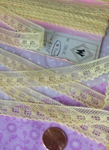 """French Lace Valencienne vintage Trim 3 yards floral 5/8"""" yellow dolls edging"""