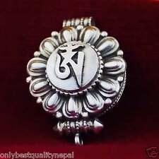 Silver Lotus Buddhism Tibet A130 Gau Amulet Pendant Medallion 925 Sterling