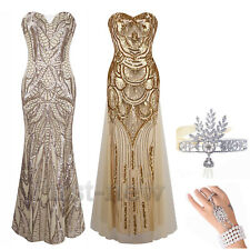 1920s Flapper Dress Great Gatsby Sequin Cocktail Party Long Gown Evening dresses