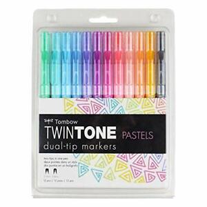 Tombow 61501 TwinTone Marker Set Pastel 12-Pack. Double-Sided Markers Perfect...