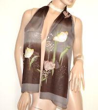FOULARD étole safari marron taupe 40% soie femme châle echarpe voilé fleurs G38