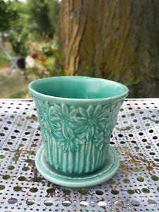"Vtg Brush McCoy Green Daisy Planter Art Pottery Turquoise 4"" Jardiniere Rare"