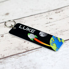 Personalised Printed School Bag Tag Acrylic Space Rocket - Boys