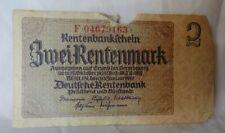 1937 Deutsche Rentenbank German Banknote 2 Zwei Rentenmark Berlin