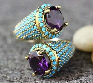 925 Silver Turkish Handmade Amethyst Ring Women Wedding Jewelry Size 6-10