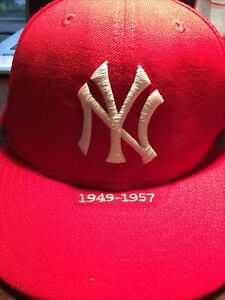 NY Yankees New Era 59Fifty, Red, Size 7 3/8. Pre-owned, Embroidered 1949-1957