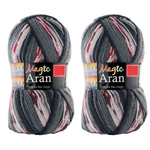 2x Magic Aran Knitting Yarn Wool Knit and Crochet - Blacks and Pinks 250g