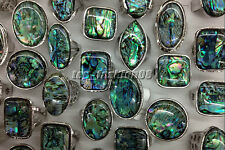 Hot 5Ps Mixed Lots Silver Plated Outsize Shell Gemstone Rings Jewelry Wholesale