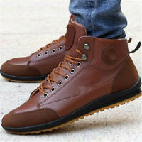 Men's Winter Leather High Top Sneaker Lace-up Work Shoes Ankle Boots Casual