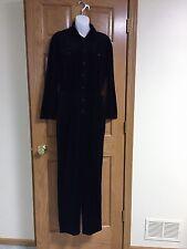 VGUC Vintage Liz Claiborne Black Velour Velvet Jumpsuit Pantsuit Romper Medium M