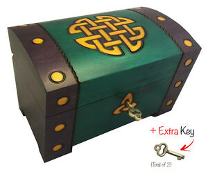 Celtic Gold Knots Chest Box Polish Handmade Wood Keepsake w/ Lock & Key