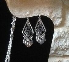 MINT SILPADA Sterling Silver TEARDROP SCROLL FILIGREE CHANDELIER EARRINGS, W1196