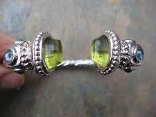 14 KT White Gold & Faceted Peridot & Blue Topaz Gemstone Cuff Bangle Bracelet