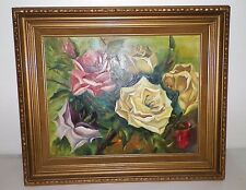 "VINTAGE FLOWER FLORAL ROSES PAINTING PINK YELLOW FRAMED 26 1/2"" X 22 1/2"""
