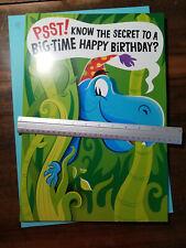 """Huge Birthday Card! 11"""" x 16"""" Hallmark Dinosaur kid boy t rex brontosaurus"""