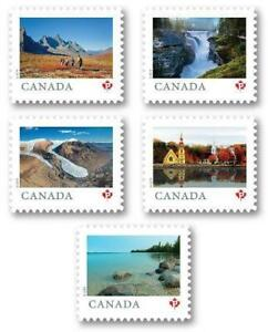"""2019 Canada 📭 Far & Wide Series; ALL 5 """"P"""" MNH Single Stamps 📬 from Booklet"""