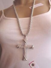 Damen Hals Kette Modekette Modeschmuck lang Silber XL Anhänger Strass Kreuz k569