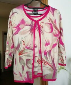 Casamia Exclusive Floral Twinset Top & Cardigan ~ Size Small