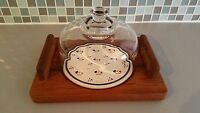 Vintage Good Wood Glass Domed Teak Wood Cheese Serving Tray Blue Floral Plate