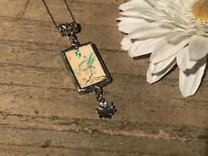 Recycled Game Tile Jewelry, Antique Bone Mah Jongg Pendant Necklace w/Charm