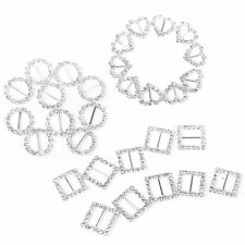 30pcs Heart + Round + Square Shape Ribbon Buckle Sliders for DIY Craft Weddin SS