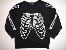 NWT Baby Gap 12-18 Halloween Skeleton Embroidered Crewneck Sweatshirt Black