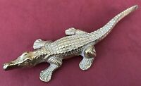 vintage solid brass crocodile  paper weight  ornament Old Animal