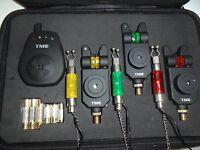 3 x TMC Mag Roller Bite alarms,receiver + 3 x illuminated hangers, Case, Carp