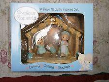 Precious moments Mini Nativity Lot Loving~Caring~Sharing 2004 Joseph Mary Jesus