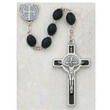 IVL 8MM Black Carved Wood Bead Saint Benedict Silver Rosary Enamel Crucifix