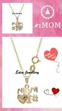 Super Cute #1 Love MOM Gold Plated Necklace with Diamond Accent New in Gift Box