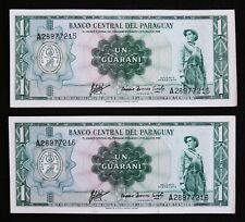 PARAGUAY UN GUARANÍ 1963 BANKNOTES - SET OF TWO CONSECUTIVE NUMBERS UNCIRCULATED