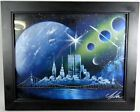 New York Twin Towers Original Art Spray Paint Signed Futuristic Planets Skyline