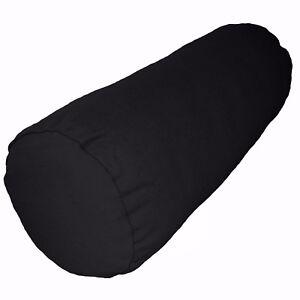 aa152g Black Plain Cotton Canvas Fabric Yoga Bolster Cushion Cover Custom Size