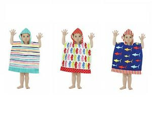 Boys Girls Kids Hooded Poncho Towel Shark Sea Horse Multi-Stripes 1.5-3 yr