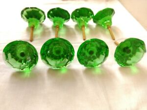 8 pcs Vintage Door Cabinet Glass Knobs Brass Puller Antique Style Green Nobs Rar