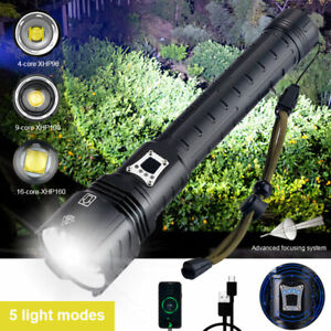Most Bright XHP90 XHP120 XHP160 LED Flashlight 26650 USB Rechargeable Zoom Torch