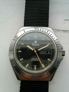 Tutima Pacific Automatic Diver's With D/D patina vintage and rare NR QS
