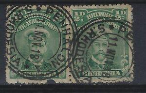 Rhodesia SG 283 1/2d Deep Blue Green P 14 Used Pair Cat £12 each