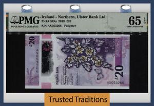 TT PK 345a 2019 IRELAND NORTHERN ULSTER BANK LTD 20 POUNDS PMG 65 EPQ GEM UNC!