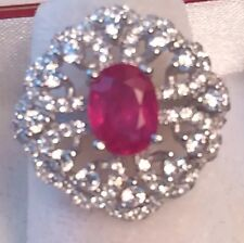 6.30CTW HUGE ! NATURAL! RED RUBY  SILVER RING SIZE 6