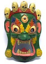 Vintage hand Carved WOODEN Tribal home décor collectible devil mask. i71-5 US