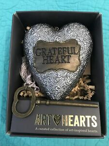 "NIB Studio By DEMDACO Sculpted Art Heart""GRATEFUL HEART""W/Key/Tassel•Silver/Gold"
